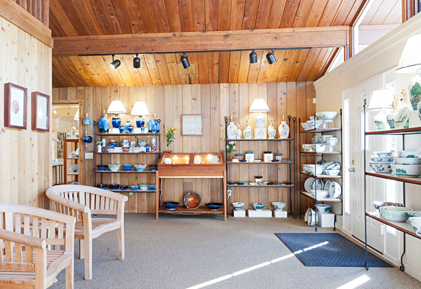 Interior photo of Georgetown Pottery in Woolwich Maine